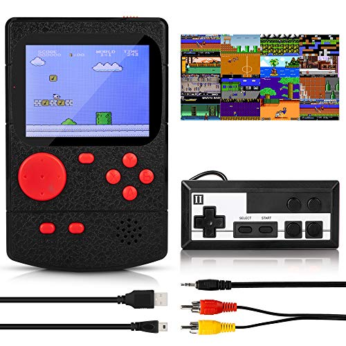 KIDWILL Handheld Game Console, 800mAh Battery Powered Portable Mini Game Player with 500 Retro FC Games, 3.0 Inch Color Screen Retro Game Console Support TV Out & Two Players for Kids Adults(Black)