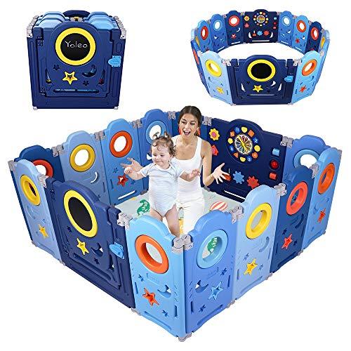 YOLEO Box Bambini, Recinto per Bambini Pieghevole, Box Neonato Protezione 14 Pannelli Barriera di Sicurezza con Pannello Giocattolo e pannello Orologio Blu