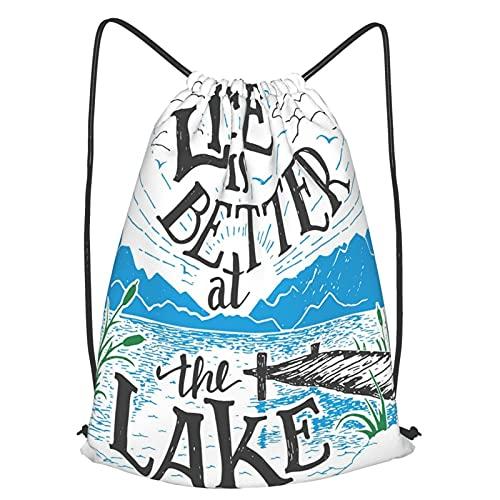 Mochila Con Cordones Unisex,La vida es mejor en el lago, muelle de madera, plantas, montañas, bosquejo, arte,Bolso con Cordón Impermeable para Nadar/Surfear/Viajar/Hacer Senderismo/Yoga/Deportes