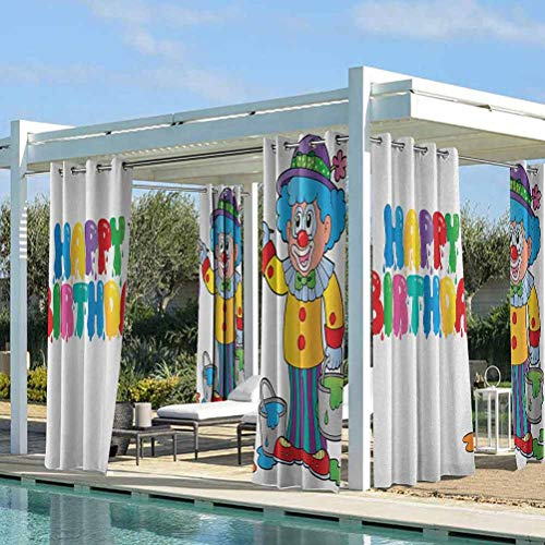 Kids Birthday Durable Curtain Outdoor Decor Happy Clown for Party with Colorful Painting Drawing Style Buckets Print Multicolor 112W x 95L Inch