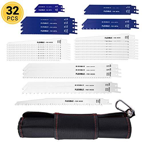 Kohree Säbelsägeblätter Set, Säbelsägeblatt Set für Metall Holz, 32 teilig Sägeblatt mit Handtasche (32 Stück)