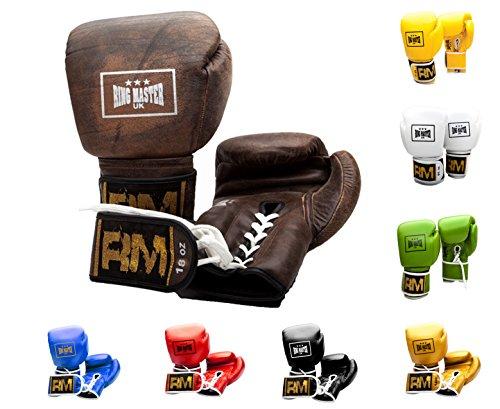 Ringmaster UK Boxhandschuhe Professionelles Training Sparring braun aus echtem Leder, Herren Damen, braun