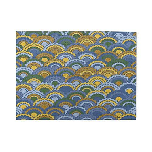 Rompecabezas de 500 piezas,escamas de peces abstractas,azulejos de Squama,escamas de Squama chinas clásicas,azulejos de arco con motivo de piel de serpiente,Gran juego de rompecabezas familiar