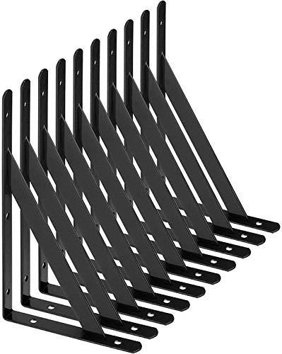 STARVAST Equerre Etagere Murale, 10 Pcs Supports Triangulaires de 90 Degrés en Acier, Équerres Étagères 200mm x 120mm, Support d'angle Brace avec 50 pcs Vis et 20 pcs Ancres (Noir)