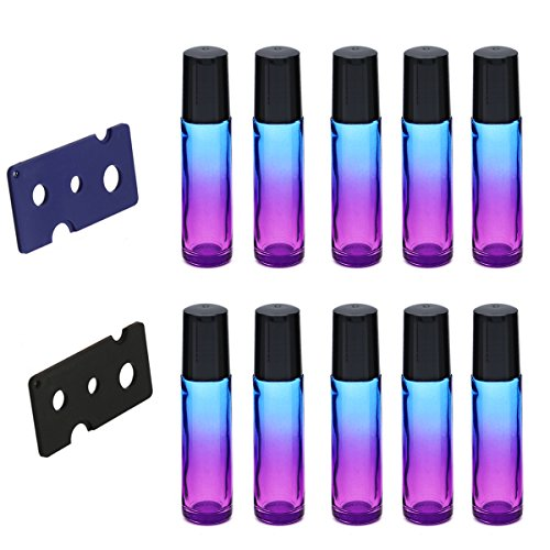 ROSENICE 10ML Gradient Roller Bottles Botellas Roll-on de vidrio con 2pcs Abridor de aceites esenciales botellas de perfume 10pcs