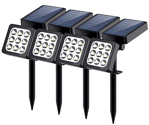 Solar Lights 2-in-1 Waterproof 9 LEDs Solar Landscape Spotlights Outdoor Adjustable Wall Light Landscape Light Security Lighting Dark Sensing Auto On/Off for Patio Deck Yard Garden Driveway, 4Pack