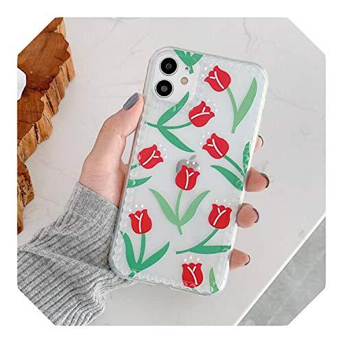 Tulip Flower Phone Case Per iPhone 11 11Pro Max SE 2020 X XR XS Max 8 7 Plus Floreale Transpare Case Silicone Back Cover Coque