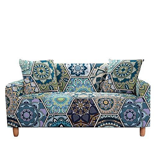 ASCV Elástico 3D Mandala Funda de sofá Estiramiento Tight Wrap Fundas de sofá Todo Incluido para Sala de Estar Funda de sofá Funda de sofá A3 3 plazas