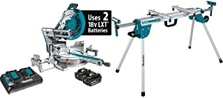 Makita XSL07PT 18V X2 LXT Lithium-Ion (36V) Brushless Cordless 12 Inch Dual-Bevel Sliding Compound Miter Saw with Laser Kit (5.0Ah) with WST06 Compact Folding Miter Saw Stand
