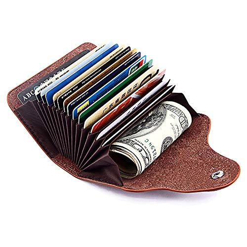 Echt Leder Kredit Und Visitenkartenetui Mit 15 Fächer Kartenetui Scheckkartenetui Kartenmäppchen Kreditkartenmäppchen Für Herren Und Damen Braun
