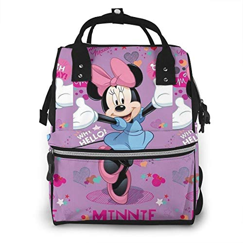 Mochila para pañales - Hello Minnie Mouse Mochila de Viaje Impermeable multifunción Bolsas para Cambiar pañales para bebés de Maternidad