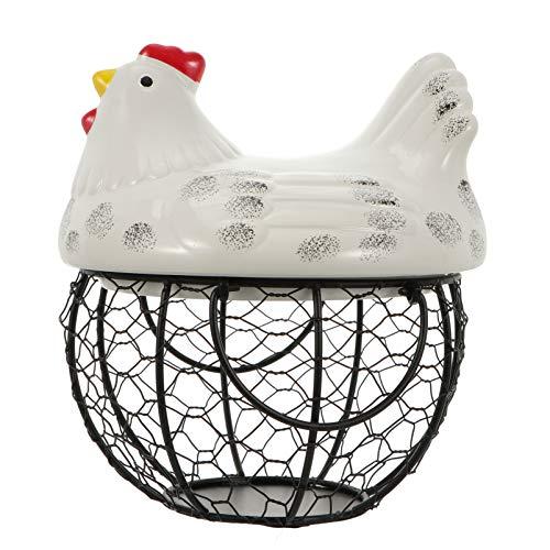 Cabilock - Cestino per uova di Pasqua con gallina, statuetta in ceramica di ferro, cestino per la casa, decorazione di casa