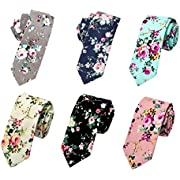 Men's Ties,Cotton Floral Printed Slim Skinny Ties for Men Neckties Pack of 6