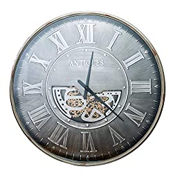 43 Inch Noiseless Silent Gear Wall Clock Large 3D Decorative Luxury Art Big Wrought Iron Wall Clock Gears Moving Quartz Gear Large Decorative Modern Round Wall Clocks