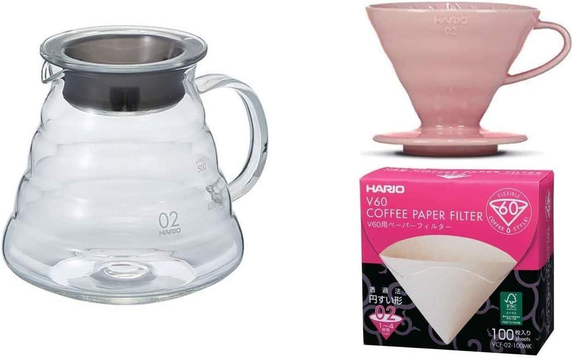 HARIO Misura 2 e Carta filtrante Pink Set caffettiera con Filtro Coordinato
