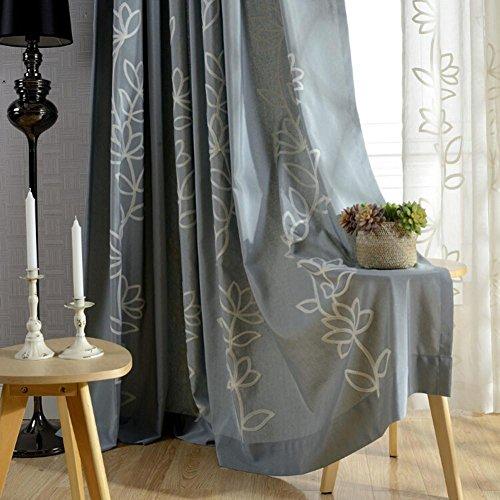 Gardiner och draperier mörkläggningsgardiner bomull och linne grå lotus broderade för fönsterbehandlingar färdig produkt vardagsrum öljett topp en panel, grå, 1 st (200 x 270 cm