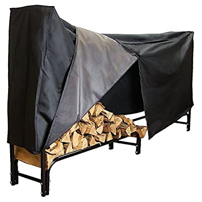 Sunnydaze Firewood Rack and Cover Combo Set - 8-Foot Outdoor Black Powder-Coated Steel Log Holder with Black Water-Resistant Heavy-Duty Protective PVC Cover