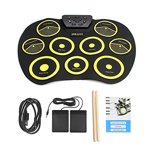 QStyle Portable Electric Drum Set,Foldable Roll Up Electronic Drum Set Pad for Adults Kids Beginner Teens with Two Sticks Two Foot Pedals