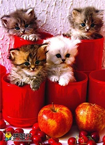 VGFTP Houten puzzel 1000 stukjes, puzzel voor volwassenen, HD-printen Educatief en intelligentie ontwikkelen, Leren Ontwikkelen van speelgoed - Bloempot kitten