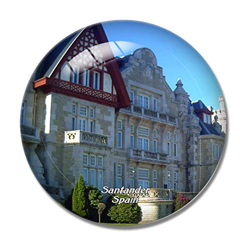 Imán para nevera 3D de Santander con diseño de palacio de Magdalena de España
