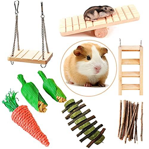 Keweni 8 Piezas de Juguetes para Masticar Hámster, Accesorios para Masticar Animales Pequeños, Palitos de Madera de Manzana Natural, Juego de Columpios para Conejo, Hámster, Jerbos