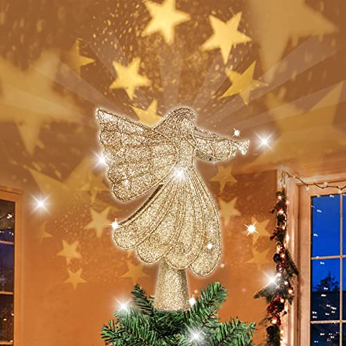 """Christmas Tree Topper Lighted Projector - 10"""" Glitter Golden Angel 3D Rotating Star Tree Topper Night Light for Christmas Tree Decorations, Holiday Winter Home Wonderland Xmas Party Ornament"""