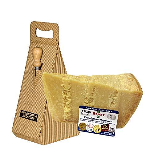 Azienda Agricola BONAT - Parmigiano Reggiano 14/16 Monate 1Kg + Geschenkbox und Käsemesser aus Edelstahl
