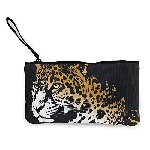 Münztasche, Jaguar, Canvas, Münzfach, Handy, Kartentasche mit Griff und Reißverschluss