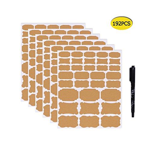Nardo Visgo Assorted Size Kraft Paper Chalkboard Label Stickers for Essential Oil Bottles,Mason Jars or Food Starage Container,6 Sheets(192 pcs)