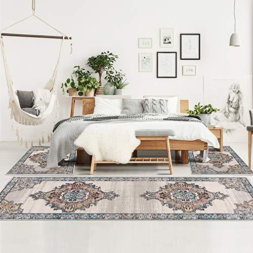 Bettumrandung Schlafzimmer - 3-teiliges Läufer Set 80x150/80x300 cm - Teppiche Vintage Bordüre Blau Beige