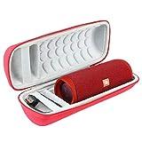Khanka Hart Tasche Schutzhülle für JBL Flip 5 Flip5 Bluetooth Box tragbarer Lautsprecher,Case passt für Lautsprecher and Zubehör. (Rot Äußeres, weiß Inneres)