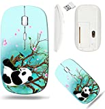 Liili Wireless Mouse White Base Travel 2.4G Wireless Mice with USB Receiver, Click with 1000 DPI for notebook, pc, laptop, computer, mac book IMAGE ID: 16898920 Panda sitting under a dry tree with blo