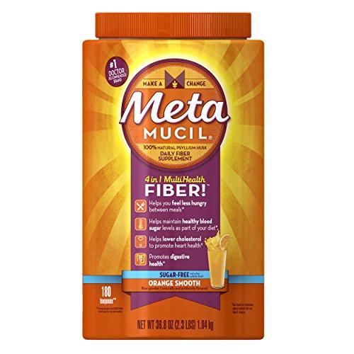 Metamucil Multi-Health Psyllium Fiber Supplement Sugar-Free Powder, Orange Flavored, 180 Servings