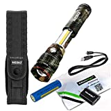 Nebo Slyde King Camo 500 Lumen 6754 USB rechargeable LED flashlight/Worklight, rechargeable Li-ion battery, 6561 holster with EdisonBright USB charger bundle
