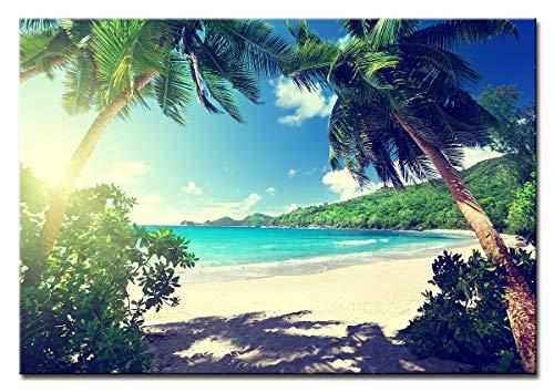 Alvyu Beeld op doek als kunstdruk in verschillende maten. Fantastisch strand in de Seychellen uit Duitsland,60 * 40cm