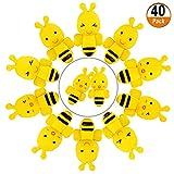 40 piezas de barradores en Abeja, las gomas de borrar de Animal Abeja para Domésticos,Fabores de Fiesta,Gomas de Borrar en Animales Variados son de caucho, amarillo