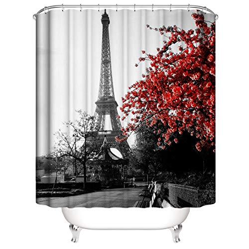 Tong XIN Torre Eiffel Gris con Flores Rojas Proteja la Cortina de Ducha de privacidad, la Cortina de Ducha Impresa es fácil de Quitar