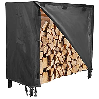 PatiosGuard 4FT Firewood Log Rack Cover, 600D Heavy Duty with Waterproof PVC Layer (48'' L x 24'' W x 42'' H)