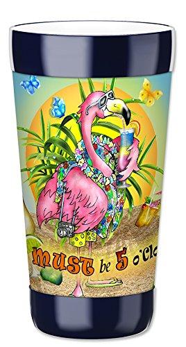 Mugzie Gobelet Boisson Tasse avec amovible isotherme plongée Coque–Flamingo potable, plastique, multicolore, 16 Ounce