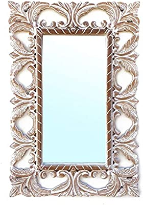 Indian Touch™Classic Decorative Mirror Antique White