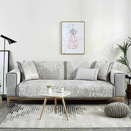 Topashe Cubre Sofa Universal Tejido de Poliéster,Cojín de sofá de Seda de Hielo, Funda de sofá Antideslizante-J_70 * 180 cm,Poliéster y Spandex Funda Sofa