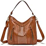 Large Hobo Bags for Women Vegan Leather Shoulder Bucket Purses and Handbags with Crossbody Strap,Brown Multi Pocket Satchel