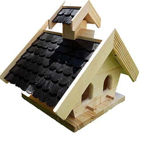 Naturholz-Schreinermeister Vogelhaus XL Futtersilo Schwarz Vogelhäuser Vogelfutterhaus Vogelhäuschen Holz Wetterschutz Putzklappe