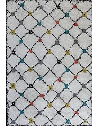 Margoom Tapis berbere Alina Fond Blanc avec des Motifs Multicolore - 1.5m x 2m