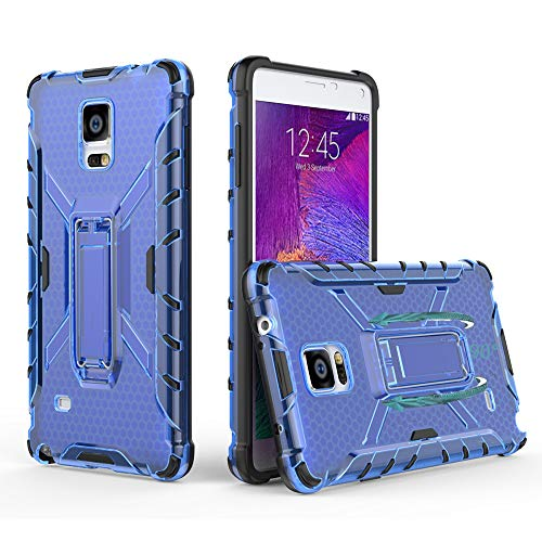 Phone Case for Samsung Galaxy Note 4 with Metal Kickstand Stand Heavy Duty Hybrid Hard Rugged Shockproof Dual Layer Protective Cover Cases Compatible Glaxay Note4 N910A Men Women Girls Black+Blue