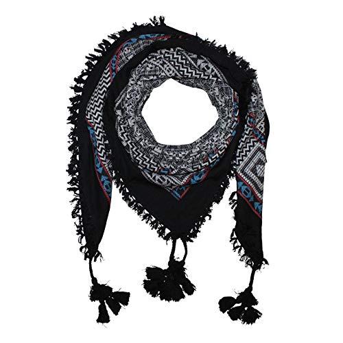 Superfreak Stilvoll detailliertes Tuch im Pali-Look - PLO Schal - 120x120 cm - Pali Palästinenser Arafat Tuch - 100{385b527c3488861a12fbadf759d2c8669f069ba5e964b7756c66d06fdb89b49e} Baumwolle Farbe: schwarz-weiß - Muster 2