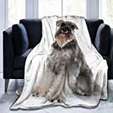 Pnnuo Fleece Blanket-Miniature Schnauzer Throw Blankets,Warm & Soft Fuzzy Blankets for Couch Bed and Adults Kids