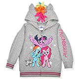 My Little Pony Hoodie for Girls, Zip Up Friendship Jacket with 3D Ears, Mane and Wings, Gray, Size 8