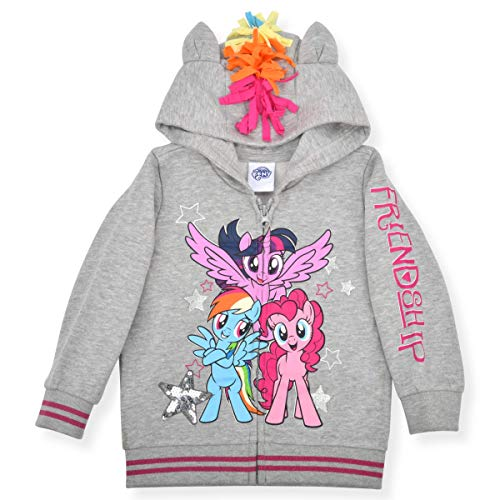 My Little Pony Hoodie for Girls, Zip Up Friendship Jacket with 3D Ears, Mane and Wings, Gray, Size 2T