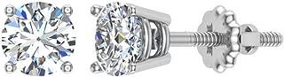 Diamond Earrings for Women Men Round Cut 14K Gold Diamond studs 1/4-1.00 ct tw Screw on posts (G, VS1)